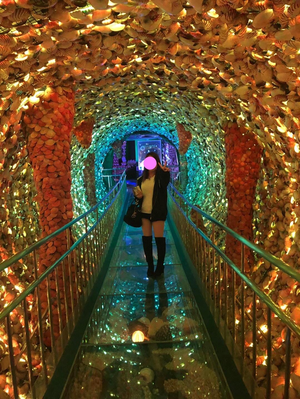 竹島ファンタジー館の貝殻でできた光のトンネル