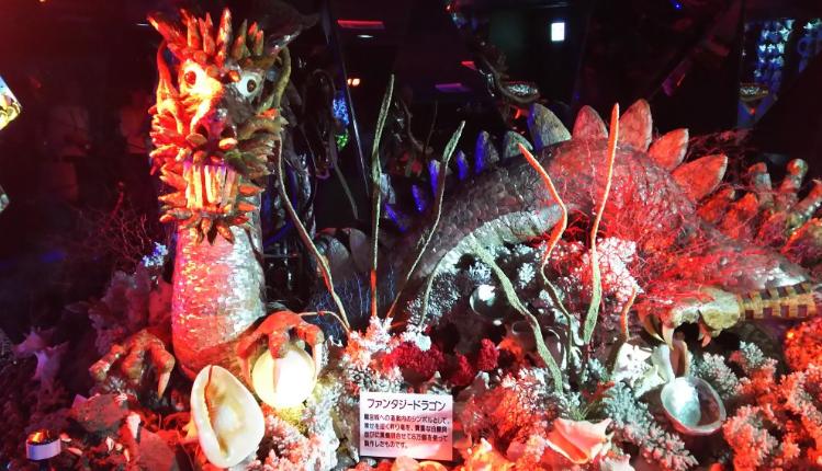 竹島ファンタジー館にいる迫力のある龍